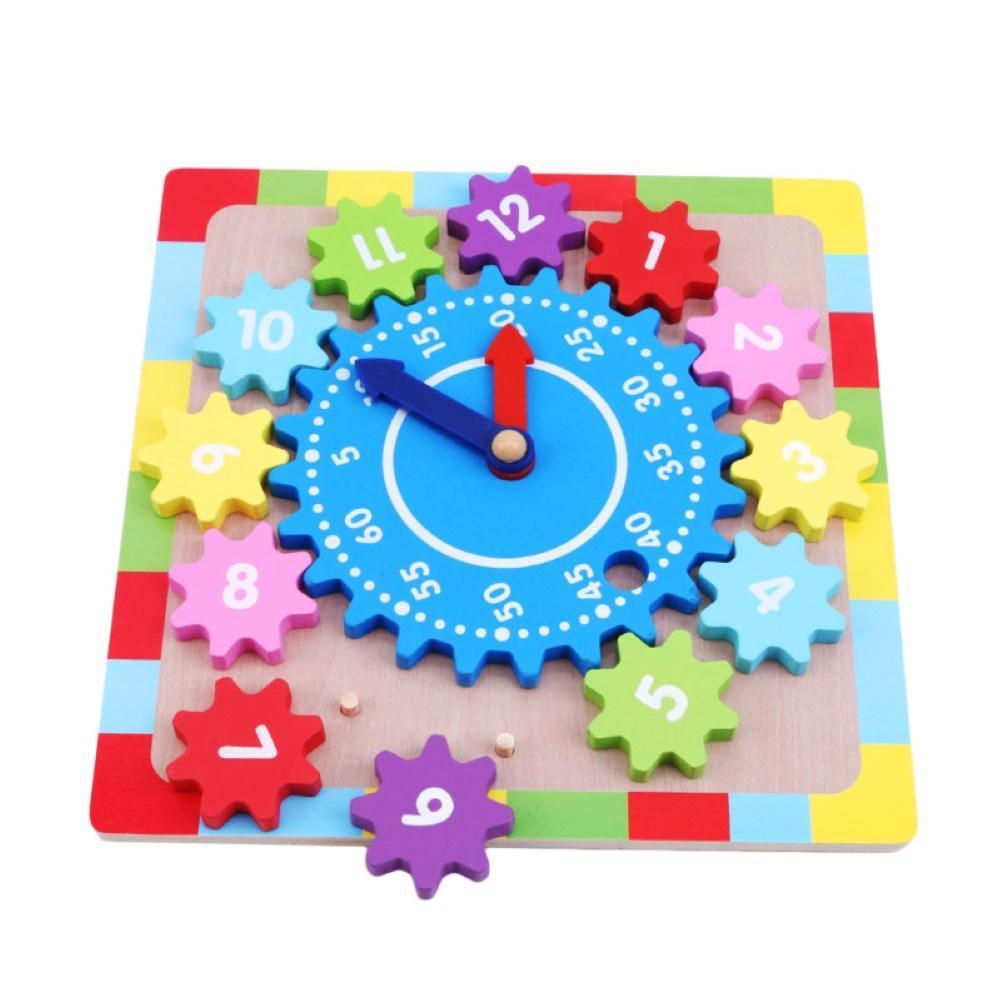 Kid Wooden Gear Block Multicolor Digital Clock Jigsaw Puzzle Early Education Toy