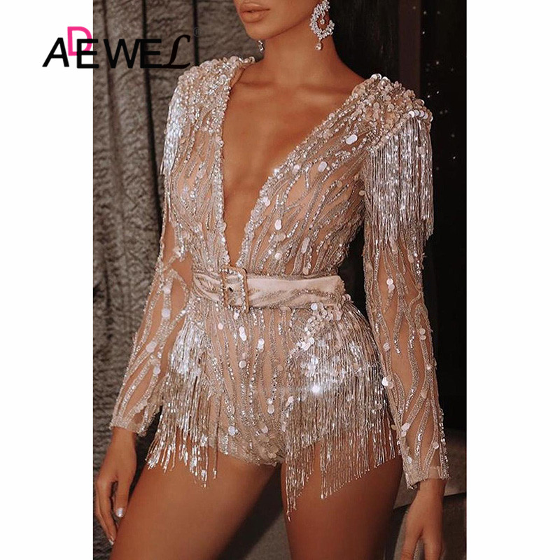 ADEWEL Femlae Body Suit Apricot Deep V Neck Sequin Tassel Romper Party Club Long Sleeve Sexy Sequin Bodysuit Women Patchwork Top