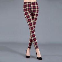 Plaid Leggings Women Pants Houndstooth Casual Trousers Black White Plus-Size CHSDCSI