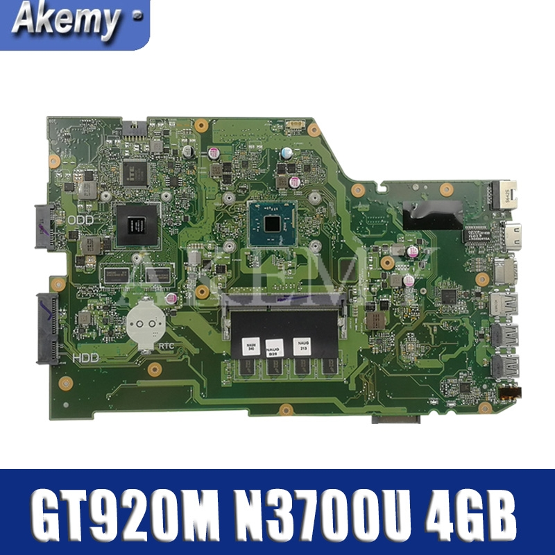 AKEMY X751SJ Original Mainboard For ASUS X751S X751SJ X751SV A751S K751S With GT920M N3700U 4GB RAM Laptop Motherboard