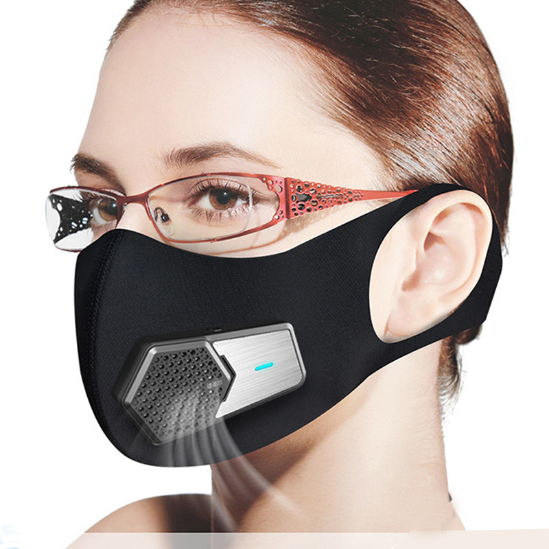 PM2.5 Dustproof Mask Smart Electric Fan Masks Anti-Pollution Pollen Allergy Breathable Face Protective Cover 4 Layers Protect