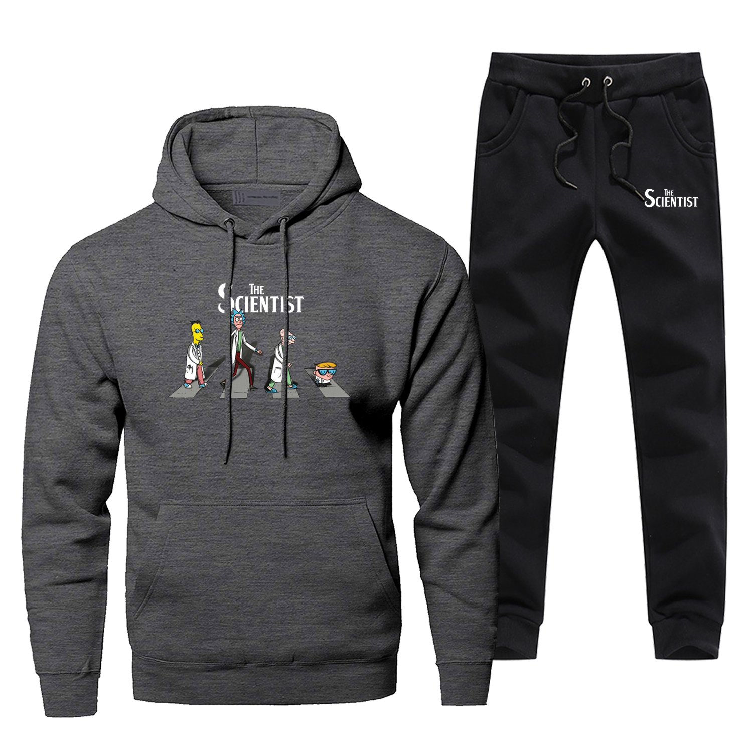 Funny Rick And Morty Line Up The Road Print Sweatshirt The Science Men Anime Hoodies Pants 2pcs Sets Fleece Sportswear Tracksuit