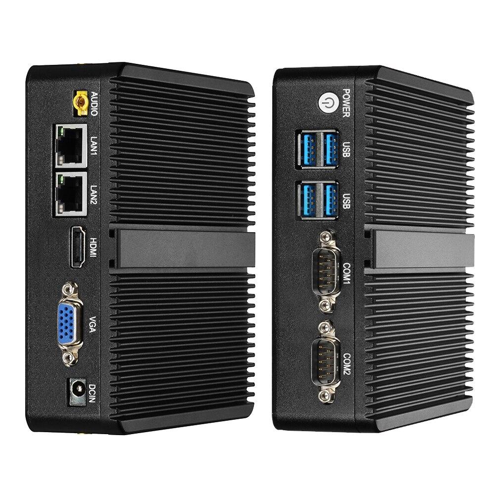 Fanless Mini PC Intel Celeron J4125 Windows 10 Dual NIC Gigabit Etherent 2x RS232 HDMI VGA WiFi 4xUSB Linux Industrial Computer