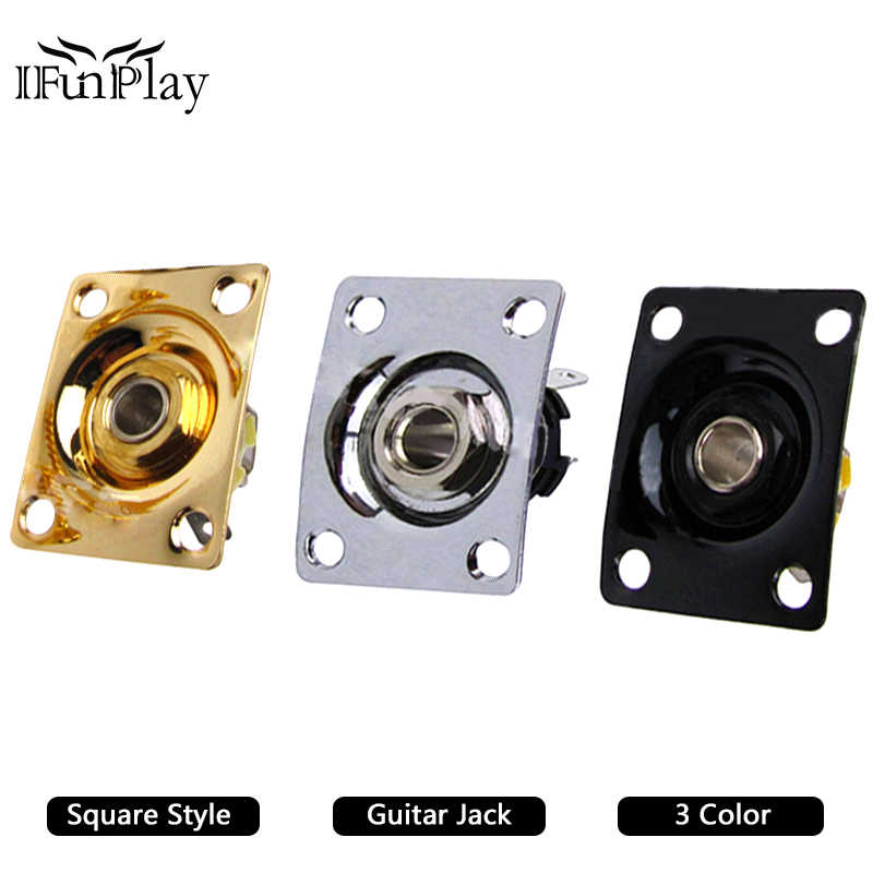 Square Style Plate Guitar Bass 1/4 Output Input Jack Socket for Electric Guitar Black Gold Chrome Gutiar Parts