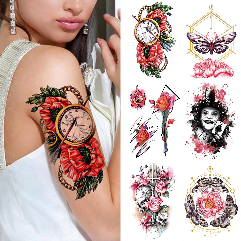 Temporary 3D Tattoo Sheet Sticker TH Skull Waterproof Flower Butterfly Fake Color Tattoo For Men And Women Arm Thigh Body