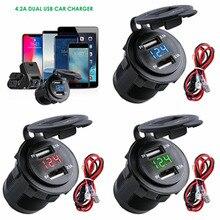 1шт 3.1 A водонепроницаемый двойной порт USB автомобильное зарядное устройство гнездо прикуривателя светодиодный вольтметр мобильный телефон смарт-адаптер для зарядки