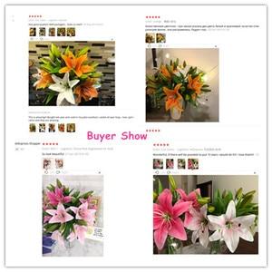 Image 5 - 웨딩 장식 크리스마스 선물에 대 한 HI Q 11pcs 3 머리 진짜 터치 PVC 인공 백합 실크 장식 꽃