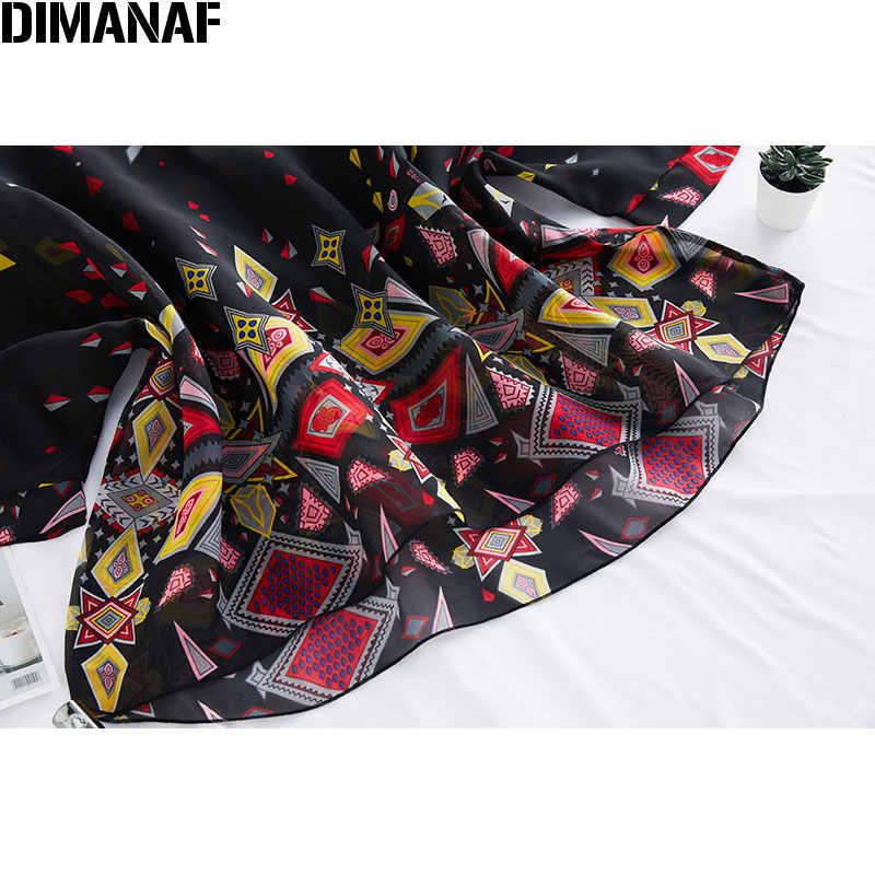 DIMANAF-chemisier en mousseline de soie, grande taille, noire, élégante, tunique imprimée, légère, 2020