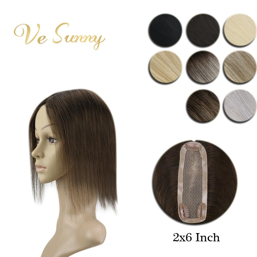 VeSunny Crown Hairpiece Mono Base Topper Real Human Hair Hand Made Toupee With 3 Clips 2x6 Inches 8 Colors Black Brown Blodne