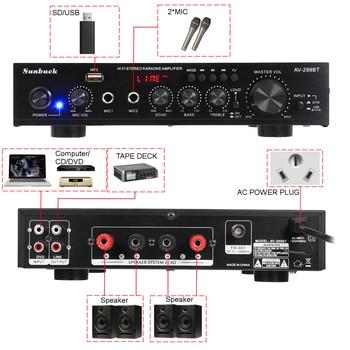 Усилитель мощности SUNBUCK AV-299BT, USB, FM, Bluetooth, MP3, 2 микрофона, 2*50 Вт 2
