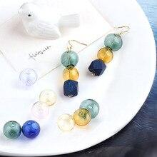 2pcs korea diy jewelry accessories material transparent color two-hole hollow glass dome pendant earrings pendant