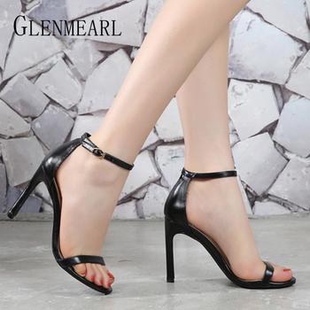 Kobiety sandały buty wysokie obcasy skórzane Peep Toes pasek z klamrą kobieta Party 2021 wiosna lato moda nowy nabytek rozmiar 34-39 tanie i dobre opinie GLENMEARL CN (pochodzenie) Wysoka (5 cm-8 cm) DRESS Pasek na kostkę Szpilki Otwarta RUBBER Dobrze pasuje do rozmiaru wybierz swój normalny rozmiar