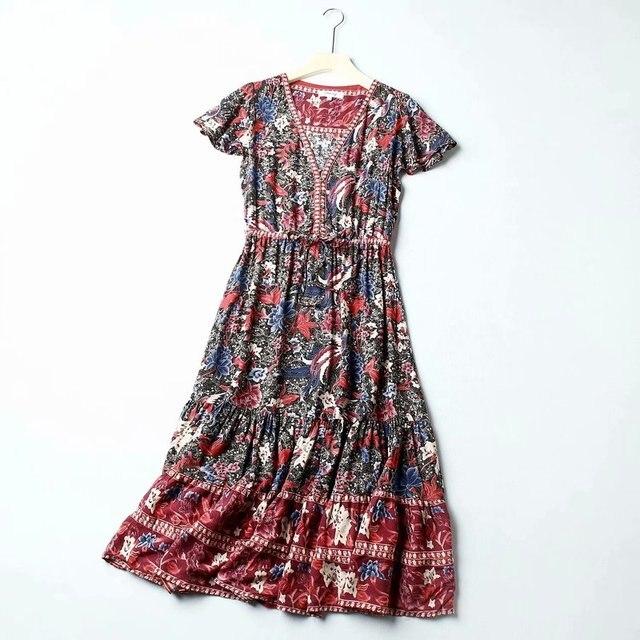 Vintage chic women floral print bat sleeve beach Bohemian maxi dresses  Ladies V neck Tassel Summer rayon Boho dress vestidos 2