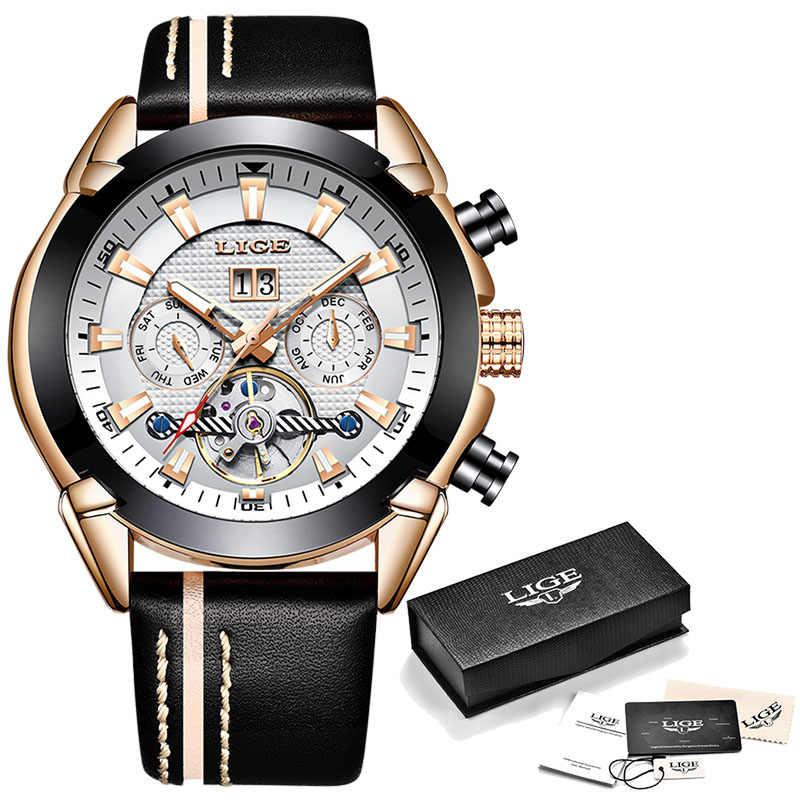 ใหม่ LIGE นาฬิกาแฟชั่นผู้ชายสุดหรูนาฬิกา Casual กีฬานาฬิกาผู้ชายกันน้ำ + กล่อง Relogio Masculino