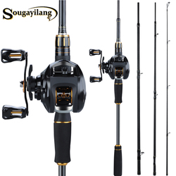 Sougayilang 2.1m Fishing Pole and Baitcasting Reel Combo Carbon 4 Sections Sea Spinning Lure Rod and Casting Fishing Wheels Set