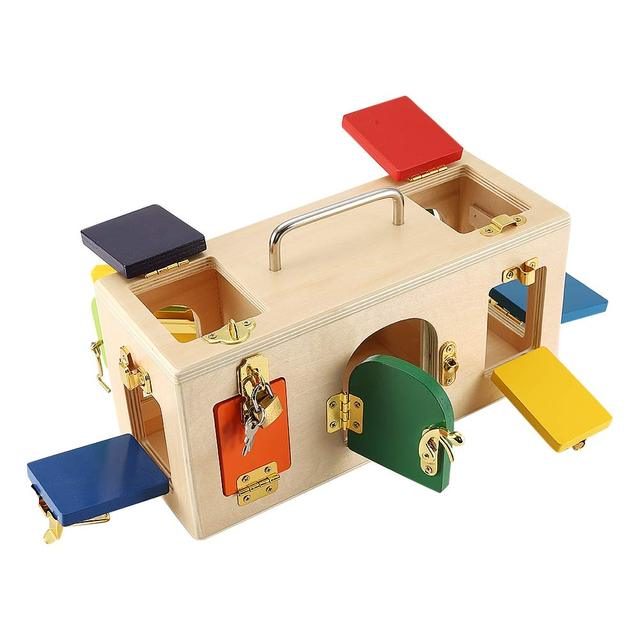 Colorful Lock Box Wooden Latches Board Children Educational Preschool Training Toys Increase the Interaction Between Parents and