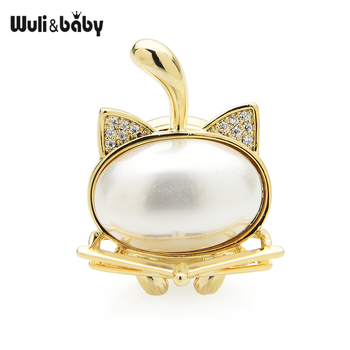 Wuli&baby New Pearl Cat Magnet Brooches Women Cute Czech Rhinestone Cat Office Party Brooch Gifts chic faux pearl rhinestone number shape brooch for women