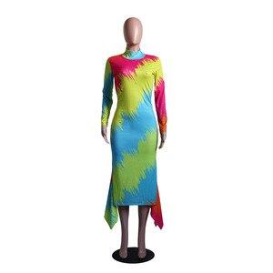 Image 4 - فساتين الأفريقية للنساء أنيقة الاسلوب المناسب المرأة الأفريقية بالإضافة إلى حجم البوليستر فستان طويل ماكسي