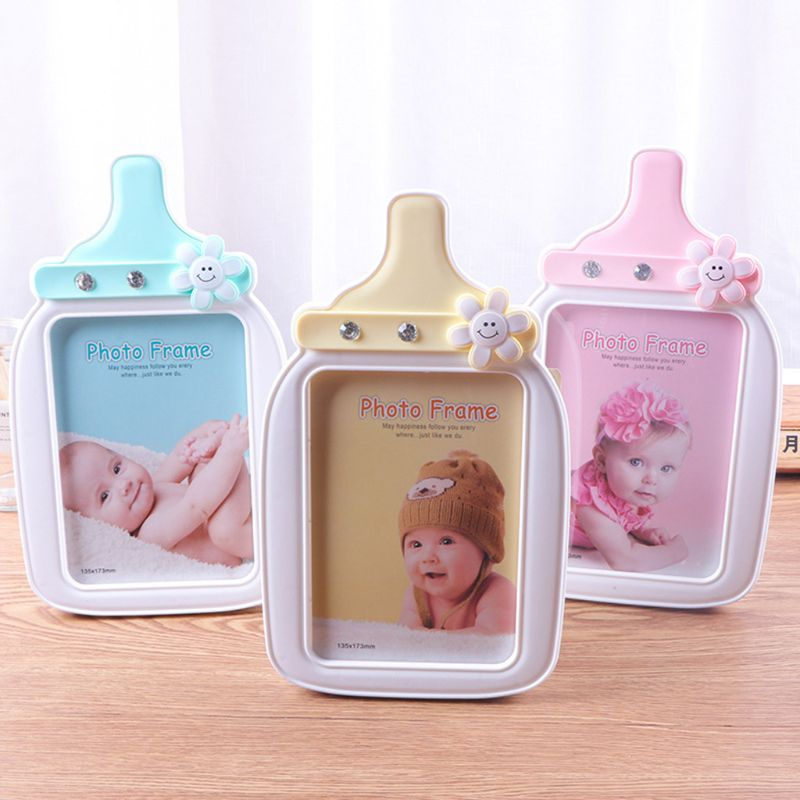 Creative Baby Cartoon Bottle Shape Photo Frame Kids Birthday Gift Picture Holder Desktop Ornaments Home Decoration