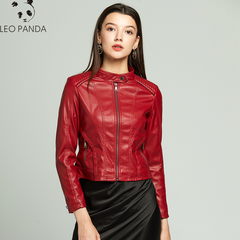 2019 New Fashion   Leather   Jacket Women pu   leather   Coat Short Slim Motorcycle Jackets New Spring Autumn Plus Size coat