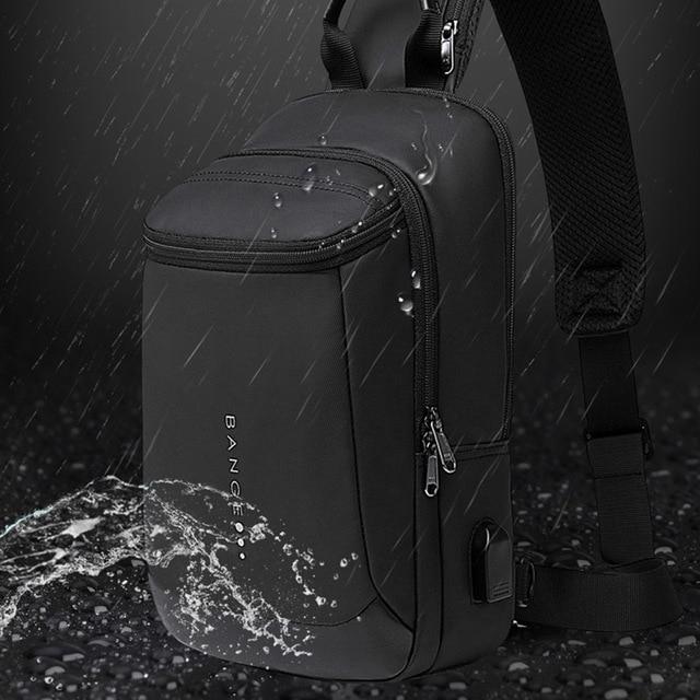 Bange New Multifunction USB Recharge Crossbody Bag for Men Shoulder Messenger Bags Male Waterproof Short Trip Chest Bag Pack 1