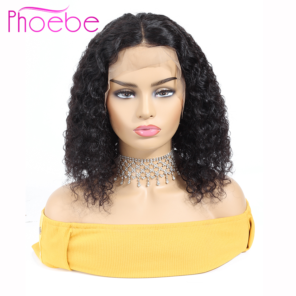 Phoebe 13x4 Kinky Curly Bob Wig Lace Frontal Human Hair Wigs Peruvian Non-Remy Short Bob Wigs For Black Women Fast Shipping