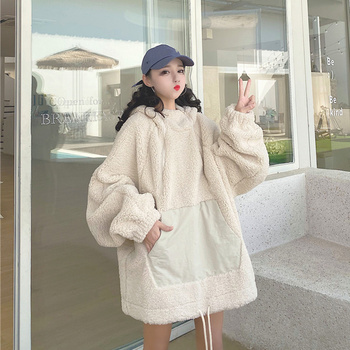 Winter Korean Style Fluffy Blanket Hoodie Women Harajuku Long Sleeve Oversize Sweatshirt Soft Fleece Vintage Streetwear Hoodie bloom liliya 2020 new women hoodie double sided gold velvet thick sweatshirt women hoodies long sleeve oversize korean style