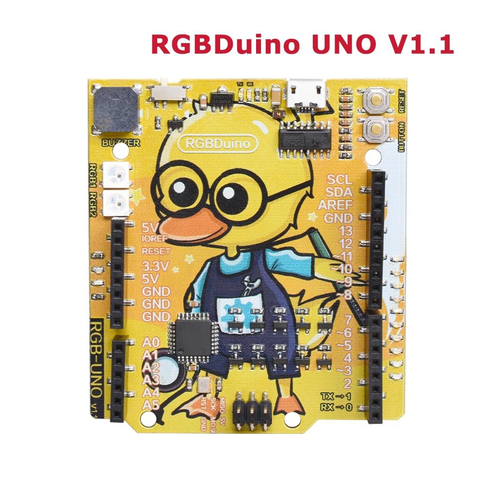 RGBDuino UNO V1.1 Geek Duck Development Board ATmega328P CH340C Micro USB Vs Arduino UNO For Raspberry Pi 3 Raspberry Pi 4