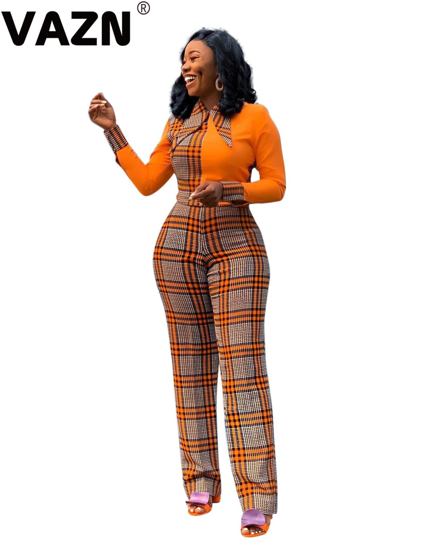 VAZN 2020 Frühling High-end Plus Größe Vintage Palid Patchwork Junge Büro Regualr Volle Hülse Hohe Taille Frauen Breite bein Overalls