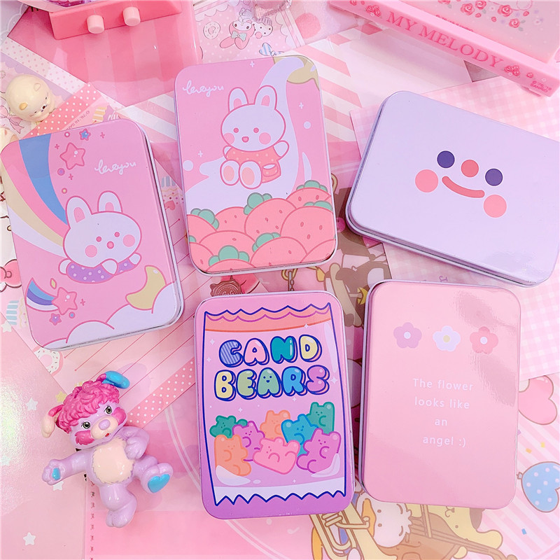 Mini Cute Cartoon Rabbit Tin Metal Drawer Receive Storage Box Candy Box Case Home Organizer Jewelry Container Gift Home