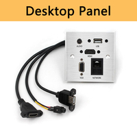 HDMI VGA Audio Desktop Panel Switch USB3.0 Charger and Network Power Grommet for Office Desktop Silver