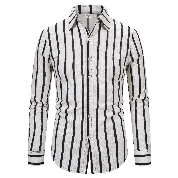2019 Stripe Leisure Time Man Shirt Jacket Male