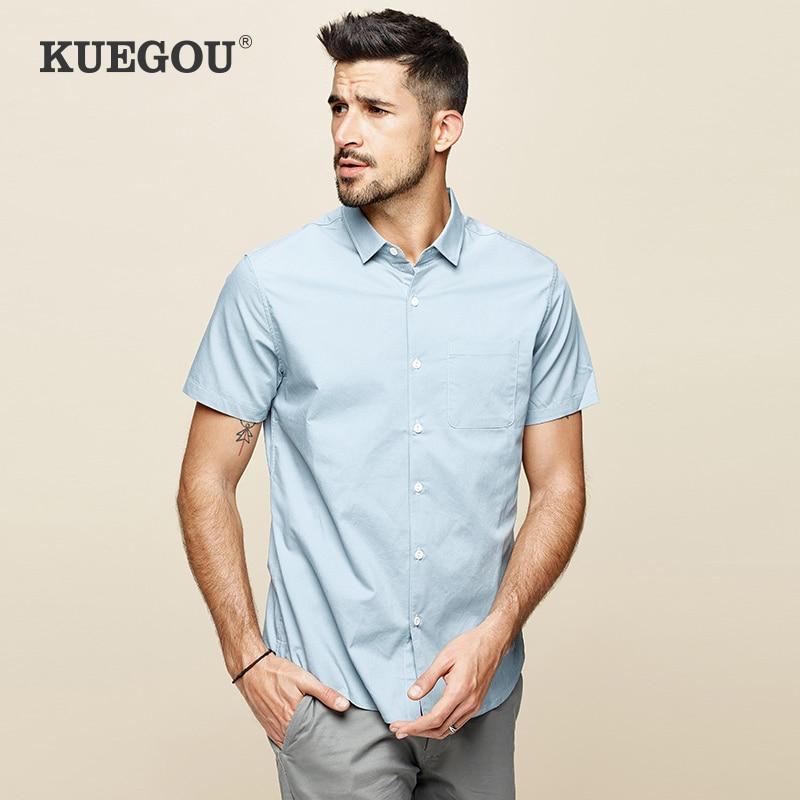 KUEGOU Micro Elastic Blue Yellow White Men's Short Sleeve Shirt  Fashion Simple Pure Color Slim Summer Shirt Top Size BC-8816