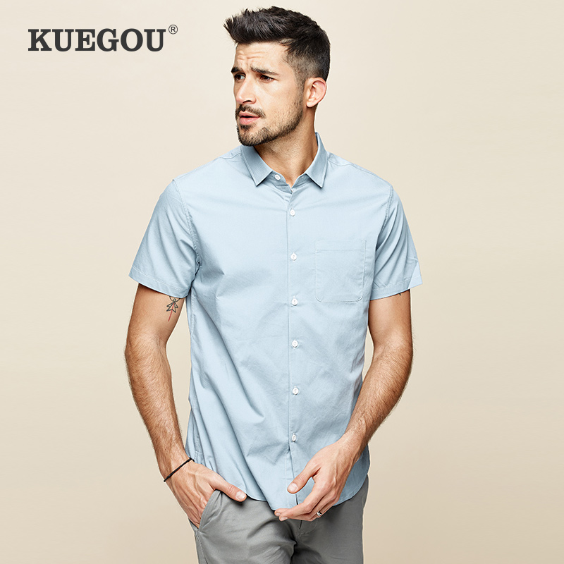 Kuegou Brand Men'sshirt Summer Fashion Simple Pure Color White Blue Slim Shirt Short Sleeve  Top Plus Size BC-8816
