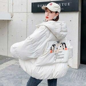 Женская мультяшная парка с капюшоном, Повседневная теплая короткая куртка размера плюс, MY302, для весны и зимы