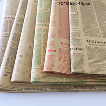 45pcs Classic English Newspaper Package Flower Paper Bouquet Floral DIY Material Wrapping
