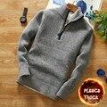 Зимний мужской флисовый плотный свитер, водолазка на молнии, теплый пуловер, качественные Мужские приталенные вязаные шерстяные свитера дл...