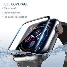 Подходит для защиты экрана apple watch, 38 мм 40 мм 42 мм 44 мм 3D Стекловолоконная закаленная пленка относится к iwatch серии 54321