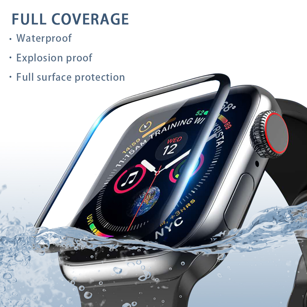 Suitable For Apple Watch Screen Protector, 38mm 40mm 42mm 44mm 3D Fiberglass Tempered Film Applies To Iwatch 54321 Series