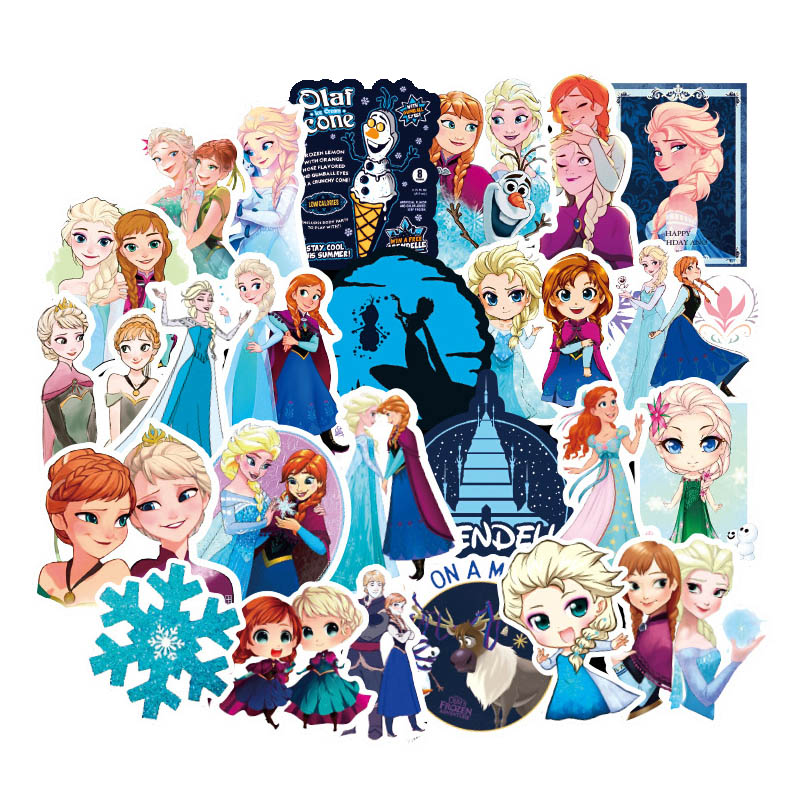 100Pcs Disney Stickers Princess Elsa Graffiti Frozen Sticker For Kids On Laptop Skateboard Suitcase Bike