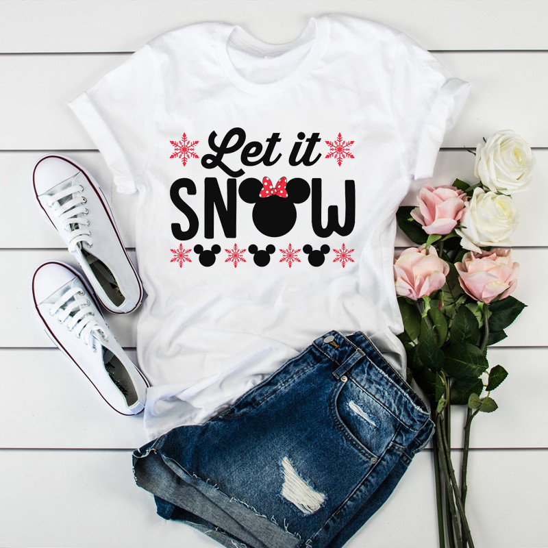 Merry Christmas Tshirt Women Fashion Graphic Ladies Top Tshirt Female Kawaii Tee Shirts