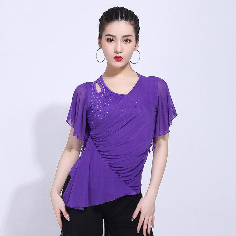Latin Dance Top Tango Cha Cha Rumba Samba Competition Dancing Short Sleeve Shirts Ballroom Practice Wear Women Clothes DNV11893
