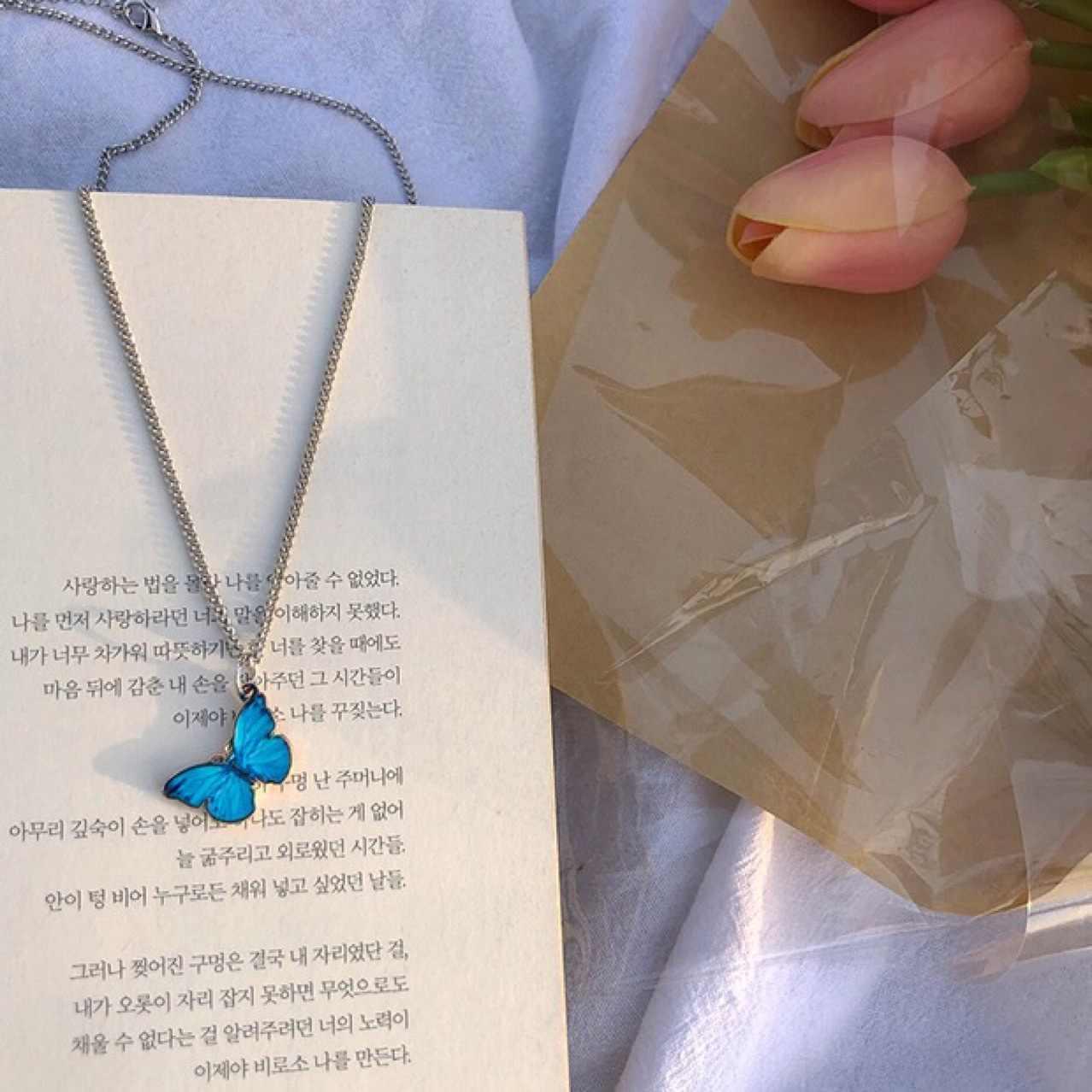 2020 Nieuwe Paars Blauwe Vlinder Hanger Ketting Voor Vrouwen Vintage Titanium Wedding Ketting Choker Sieraden Accessoires