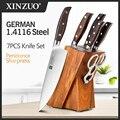 Набор профессиональных ножей XINZUO из 7 предметов, немецкий набор кухонных ножей из нержавеющей стали 1,4116, лучший кухонный инструмент для нар...