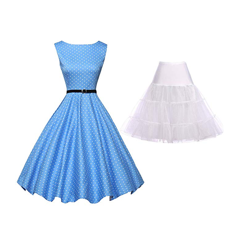 Summer Fashion Retro Dress 1950s Polka Dot Belt Sleeveless Sexy Girl Slim Dress Banquet Classic Evening Dress