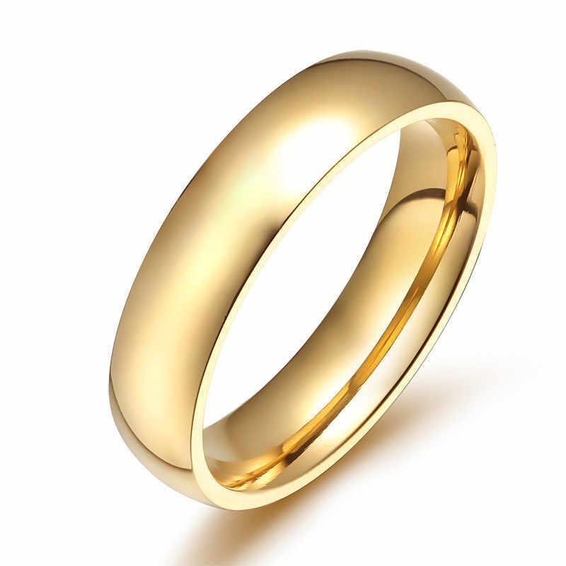 ZORCVENS Simple Gold สีสแตนเลสหมั้นแหวนผู้หญิงผู้ชาย Elegant บางแหวนแต่งงานครบรอบของขวัญ