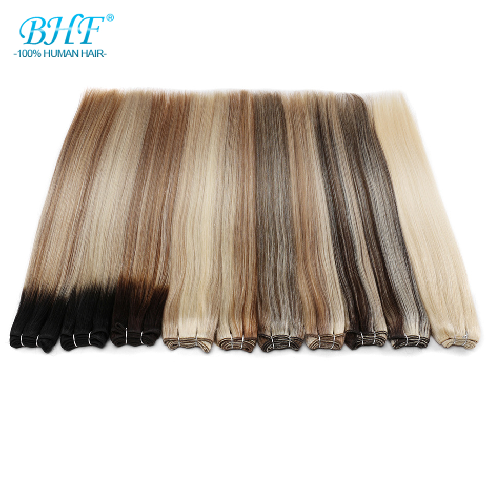 BHF 100% Human Hair Weaving Straight 100g Russia Natural Hair Extension Machine Made Remy Hair Weft 26inch Long