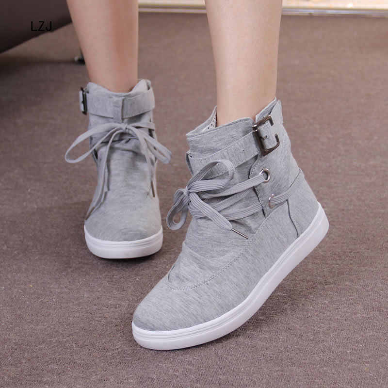 LZJ 2019 HOT Autumn Women Boots Casual Canvas Shoes Woman Flats Solid Ankle Boots Black Grey Platform Shoes Woman botas mujer