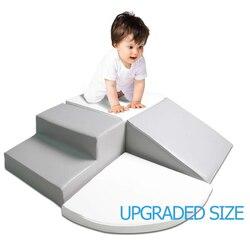 Juego de espuma para niños pequeños para escalar y gatear, conjunto de anzuelos de rayas con Motor de aprendizaje temprano, deslizar, escenario, estructura de juguete preescolar