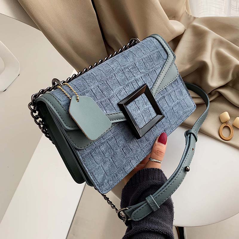 Scrub Leather Stone Pattern Crossbody Bags For Women 2019 Chain Square Buckle Shoulder Messenger Bag Lady Small Handbags